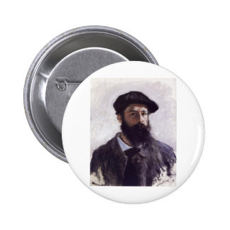 Claude Monet - autorretrato en la boina 1886 Pin Redondo 5 Cm