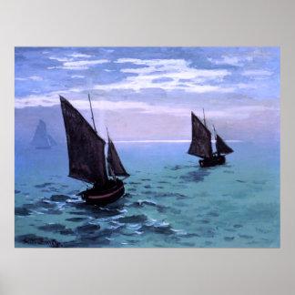 Claude Monet: Barcos de pesca en su manera Poster