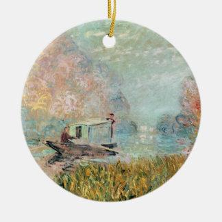 Claude Monet |  Boat Studio on the Seine Ceramic Ornament