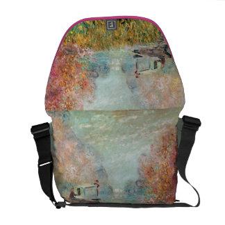 Claude Monet |  Boat Studio on the Seine Messenger Bag