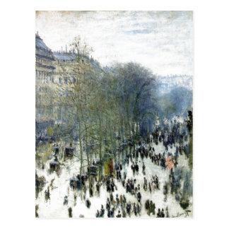 Claude Monet, Boulevard des Capucines, 1873 Oil on Postcard