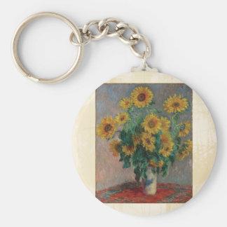Claude Monet: Bouquet of Sunflower Vintage Art Basic Round Button Keychain