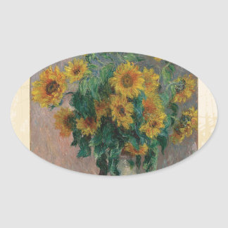 Claude Monet: Bouquet of Sunflower Vintage Art Oval Sticker