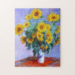 """Claude Monet Bouquet of Sunflowers Jigsaw Puzzle<br><div class=""""desc"""">Bouquet of Sunflowers is a beautiful impressionism style flower painting by French impressionist painter,  Claude Monet,  c. 1880 showing a pretty spray of sunflowers in a porcelain vase with a lilac background.</div>"""