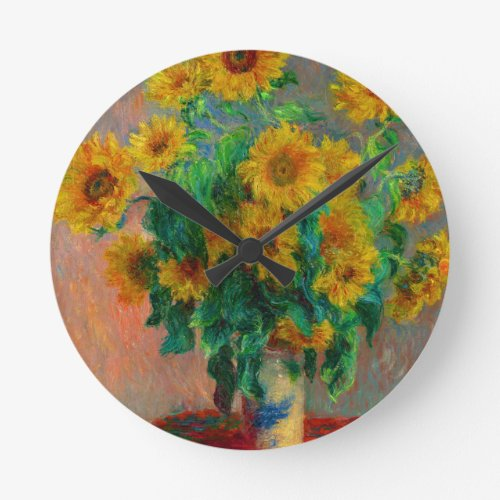 Monet Bouquet of Sunflowers Round Clock