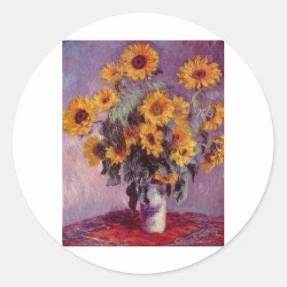 Claude Monet Bouquet of Sunflowers Round Stickers