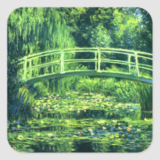 Claude Monet: Bridge Over a Pond of Water Lilies Square Sticker