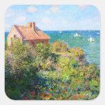 Claude Monet: Cabaña de Fishermans en Varengeville Pegatina Cuadrada