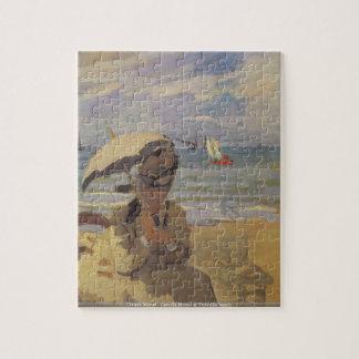 Claude Monet - Camilo Monet en la playa de Trouvil Rompecabeza