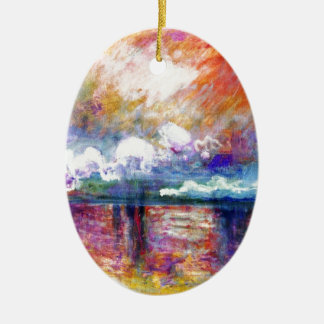 Claude Monet Charing Cross Bridge Double-Sided Oval Ceramic Christmas Ornament