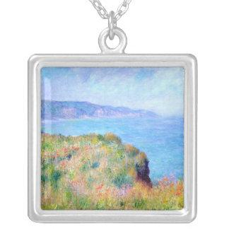 Claude Monet: Cliff Near Pourville Square Pendant Necklace