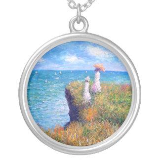 Claude Monet: Cliff Walk at Pourville Round Pendant Necklace
