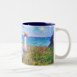 Claude Monet: Cliff Walk at Pourville Two-Tone Coffee Mug