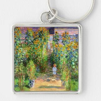 Claude Monet: El jardín de Monet en Vétheuil Llavero Cuadrado Plateado