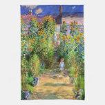 Claude Monet: El jardín de Monet en Vétheuil Toallas De Cocina