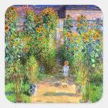 Claude Monet: El jardín de Monet en Vétheuil Colcomanias Cuadradas Personalizadas