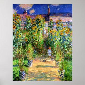 Claude Monet: El jardín de Monet en Vétheuil Póster