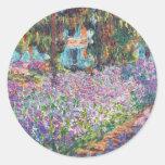Claude Monet - el jardín del artista en Givern Pegatina Redonda