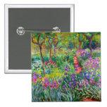 Claude Monet: El jardín del iris en Giverny Pin Cuadrada 5 Cm