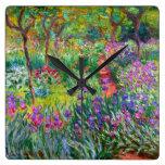 Claude Monet: El jardín del iris en Giverny Relojes De Pared