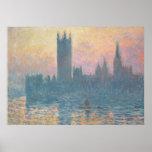 Claude Monet el   las casas del parlamento, puesta Póster