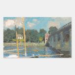Claude Monet - el puente en Argenteuil Pegatina Rectangular