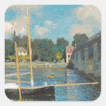 Claude Monet - el puente en Argenteuil Pegatina Cuadrada