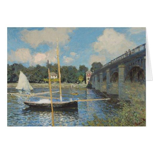Claude Monet el puente en Argenteuil Tarjeta De Felicitación