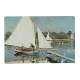 Claude Monet el   que navega en Argenteuil, c.1874 Salvamanteles