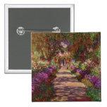 Claude Monet el | un camino en el jardín de Monet Pin Cuadrado