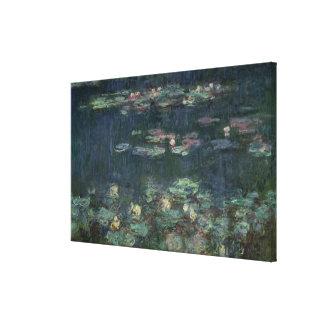 Claude Monet el | Waterlilies: Reflexiones verdes Lona Envuelta Para Galerias