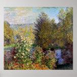 Claude Monet - esquina del jardín en Montgeron Póster