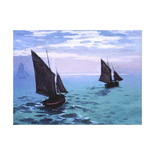 Claude Monet: Fishing Boats on their Way Canvas Print