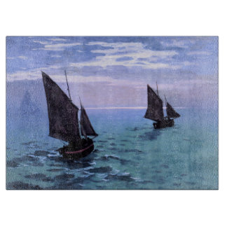 Claude Monet: Fishing Boats on their Way Cutting Board