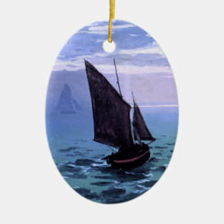Claude Monet: Fishing Boats on their Way Double-Sided Oval Ceramic Christmas Ornament