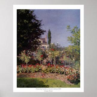 Claude Monet - Flowering Garden at Sainte-Adresse Poster