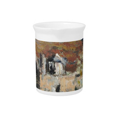 Claude Monet - Flowering Plum Trees Beverage Pitcher
