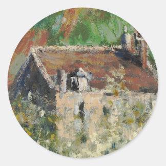 Claude Monet - Flowering Plum Trees Classic Round Sticker