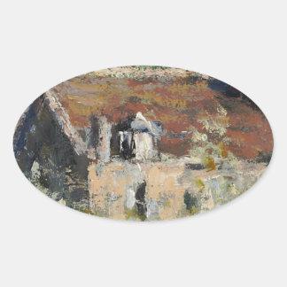 Claude Monet - Flowering Plum Trees Oval Sticker