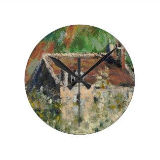 Claude Monet - Flowering Plum Trees Round Wallclock