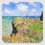 Claude Monet - francés Clifftop - impresionismo Calcomania Cuadradas Personalizadas