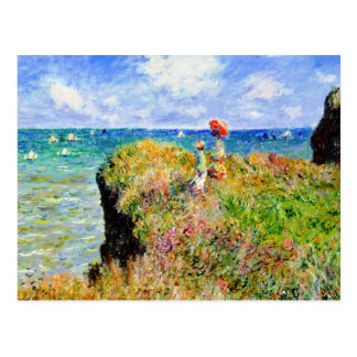 Claude Monet - French Clifftop - Impressionism Postcard