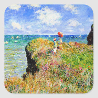 Claude Monet - French Clifftop - Impressionism Square Stickers
