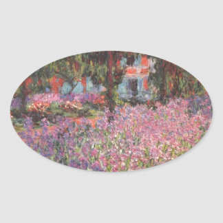 Claude Monet // Garden at Giverny Oval Sticker