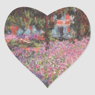 Claude Monet // Garden at Giverny Heart Stickers