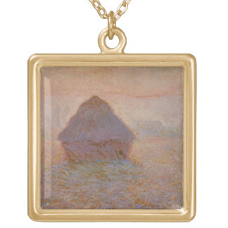 Claude Monet | Grainstack, Sun in the Mist Gold Plated Necklace