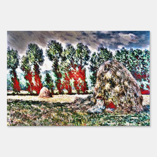 Claude Monet - Haystack at Giverny Lawn Signs