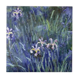 Claude Monet: Iris Azulejo Cuadrado Pequeño