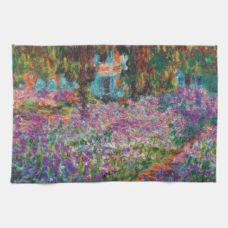 Claude Monet - iris en bella arte del jardín de Toallas De Mano