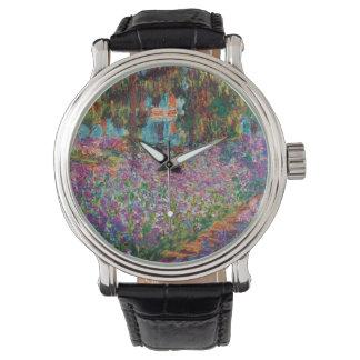 Claude Monet - iris en el jardín de Monet Relojes